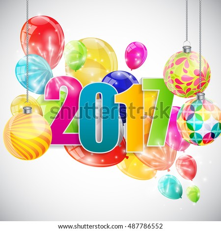 Color Glossy Balloons 2017 New Year  Background  Illustration