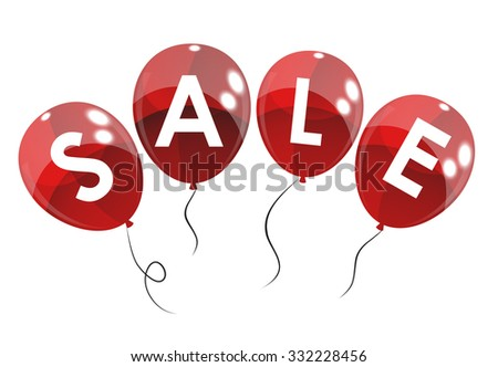 Color Glossy Balloons Sale Concept of Discount. Illustration.