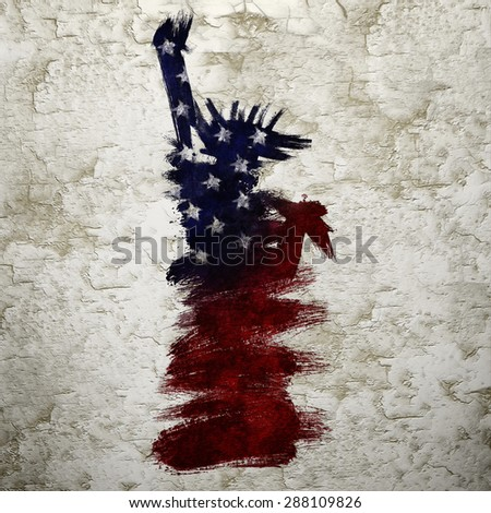 Color Grunge Painting of Statue of Liberty for American Independence Day - stock photo