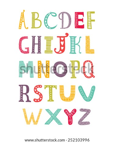 Color hand drawn alphabet isolated on white background, doodle letters collection - stock photo