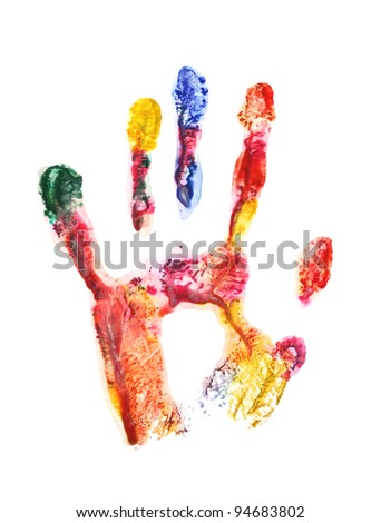 Color hand print isolated on white