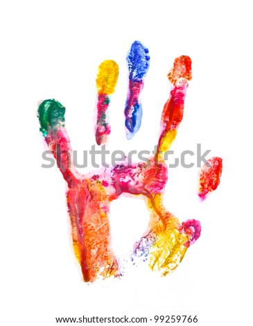 Color hand print isolated on white - stock photo