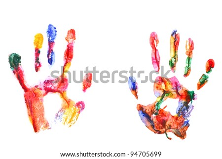 Color hand prints isolated on white