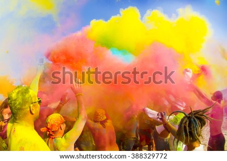 Color Holi festival - stock photo