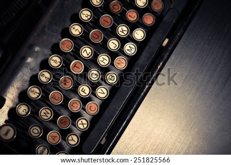 Color horizontal detail of the keyboard of an old typewriter. - stock photo