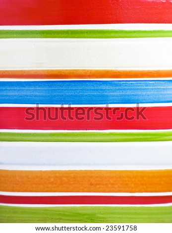 Color horizontal strips painted on ceramic