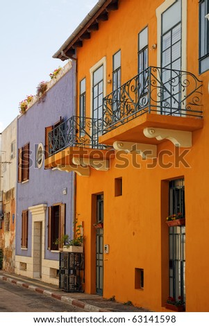Color houses of an old city (Tel-Aviv. Israel) - stock photo