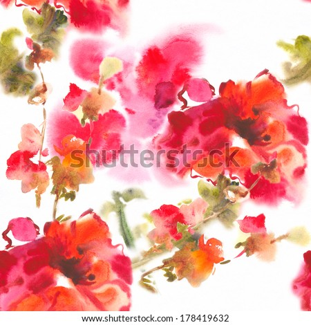 """Color illustration of flowers in watercolor paintings Album """"Seamless water color with the backgrounds."""" """" Red poppies. """" - stock photo"""
