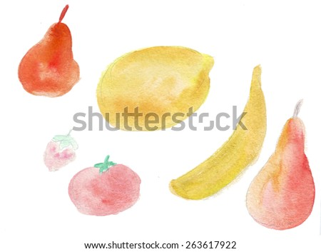 Color illustration of food objects in watercolor paintings - stock photo