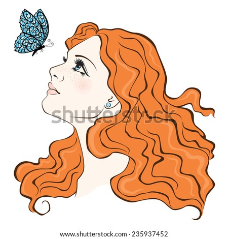 Color illustration of the beautiful girl with ginger hair  - stock photo
