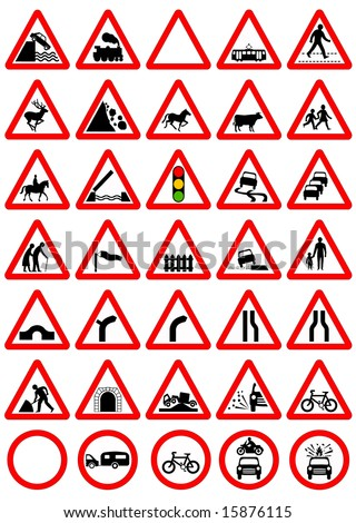 Color illustration of the road sign warning icons