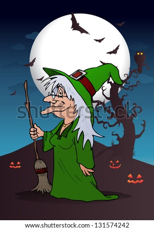 color illustration of the smiling wizard witch holding magic broom on scary background - stock photo