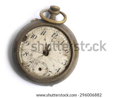 Color image of a broken vintage pocket watch, on white. - stock photo