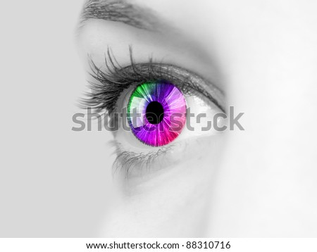 Color image of a human eye close-up - stock photo