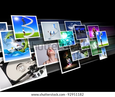 Color images flow representing modern media technology - stock photo