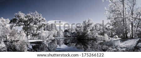 color infrared photo of lake and parkland - stock photo