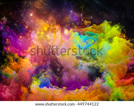 Color Kingdoms series. Interplay of fractal paints and lights on the subject of alien worlds, art, dreams, fantasy, creativity and imagination - stock photo