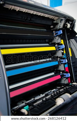 Color laser printer toners cartridges  - stock photo