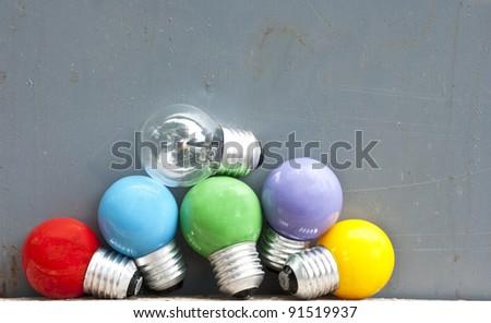 Color light bulb - stock photo