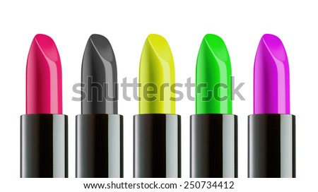 Color Lipstick palette isolated over a white background - stock photo