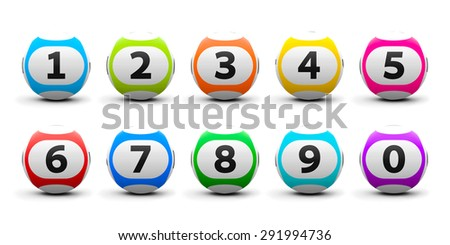 Color lottery balls set isolated on white background, three-dimensional rendering