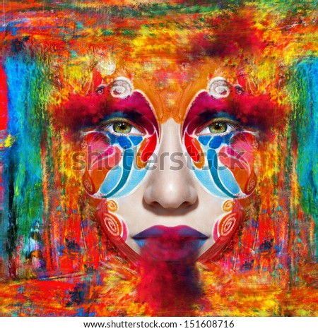 color make-up mask face art woman portrait .photo - stock photo