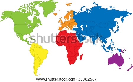 Color map showing the various continents - stock photo