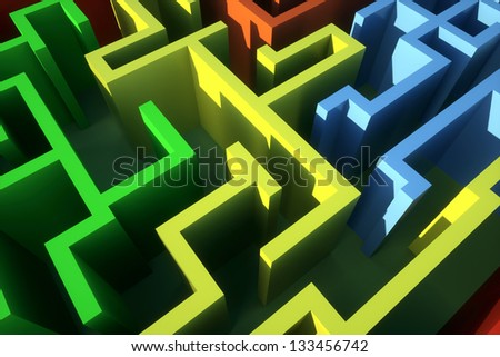 color maze view from above, rugged - stock photo