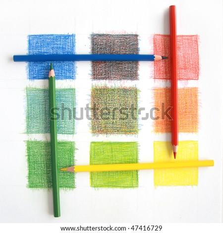 Color mix, pencils - stock photo