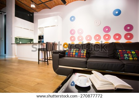 Color modern interior designed for young people - stock photo