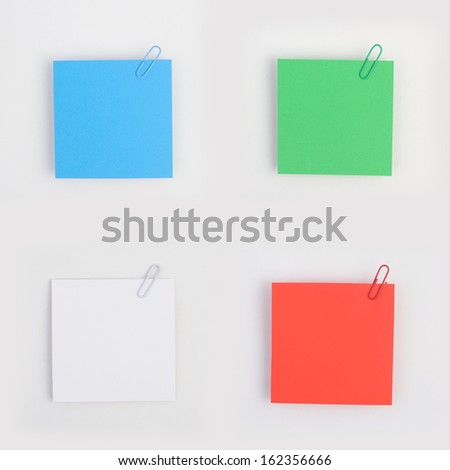 Color note paper with clip isolated on white background