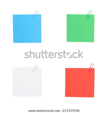 Color note paper with clip isolated on white background And Clipping path