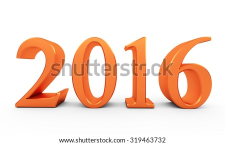 Color numbers of New Year 2016 with shadow - stock photo