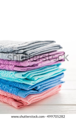 color of bath towel on white wooden background