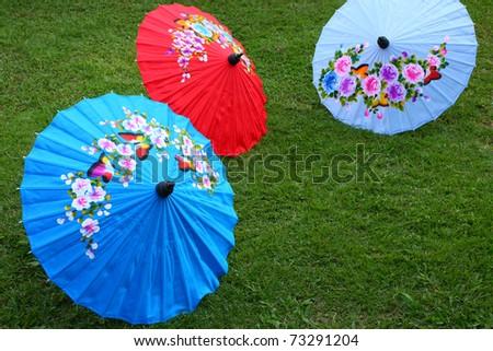 Color of paper umbrella, Thailand - stock photo