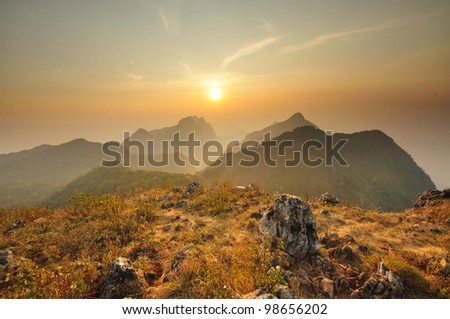 Color of sunset stone and mountain in Thailand - stock photo
