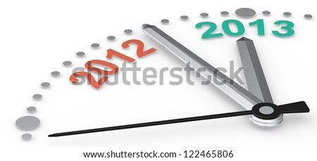 Color of the year. Abstract clock with 2012 and 2013. Emerald green and tangerine orange. - stock photo