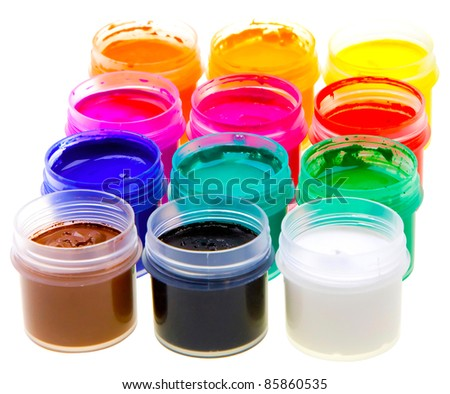 Color oil paint bottles isolated on white background - stock photo
