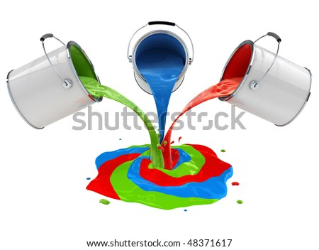 color paint pouring from buckets and mixing 3d-illustration, isolated on white background, with clipping path included - stock photo