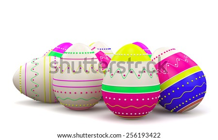 Color painted in neon colors modern easter eggs. Isolated on white background