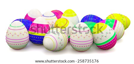 Color painted in neon colors modern easter eggs. Isolated on white background - stock photo