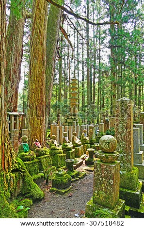 Color Painting Ancient Ruins Meditating Buddha Statues and Tombstones in the Forest of Mount Koya in Wakayama, Japan on Sandstone Texture - stock photo