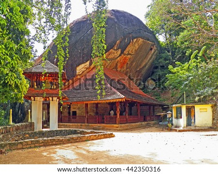 Color Painting Ancient Sacred Buddhist Hindagala Cave Temple in Kandy, Sri Lanka on Sandstone Texture - stock photo