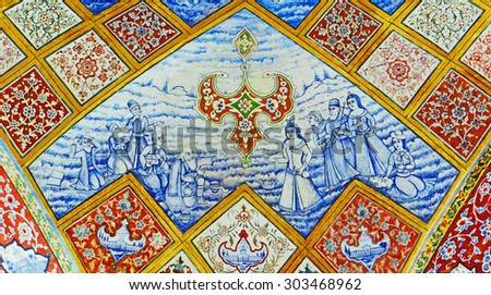Color Painting Ancient Traditional Persian Style Ceiling Mural Paintings at Old Aristocrat Manor in Isfahan, Iran on Canvas Texture  - stock photo