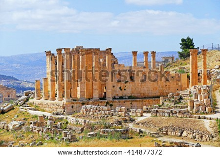 Color Painting Beautiful Scenery Scenic View Ancient Roman Temple of Zeus in Jerash, Jordan in Summer on Sandstone Texture - stock photo
