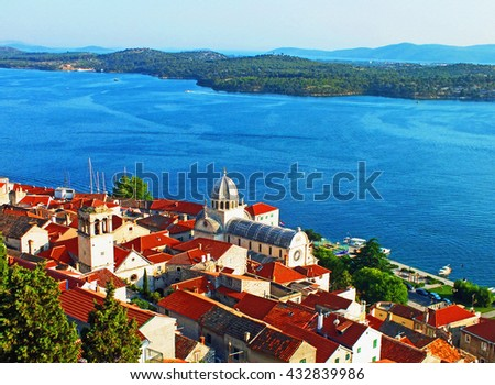 Color Painting Beautiful Scenery Scenic View City of Sibenik, Croatia in Summer on Sandstone Texture