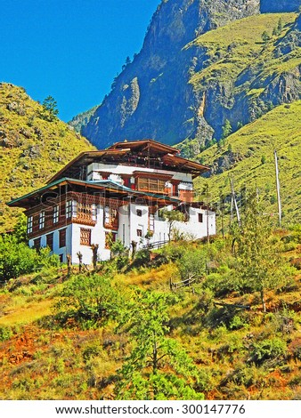 Color Painting Beautiful Scenery Traditional Bhutanese Buddhist Temple on the Mountain on Canvas Texture - stock photo