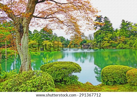Japanese Garden Cherry Blossom Paintings color painting beautiful scenery scenic greenery stock