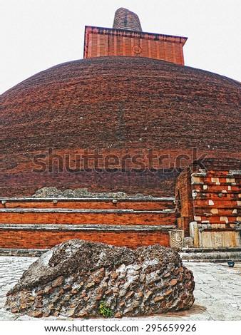 Color Painting The Grand Sacred Jetavana Pagoda in Ancient City of Anuradhapura, Sri Lanka on Sandstone Texture - stock photo