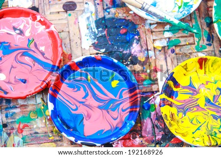 Color paints and brush - stock photo